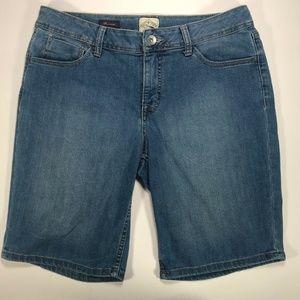 St Johns Bay Womens Denim Jeans Bermuda Light Blue